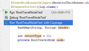 Run Code coverage from the class